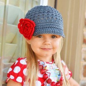Gray crochet hat.
